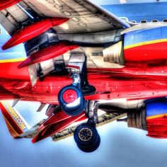 Southwest Airlines airplane landing at John Wayne Airport in Orange County California.