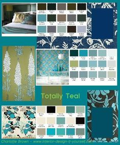 Color ideas for a teal room - to go with my Tantalizing Teal moodboard and my… Teal Rooms, Teal Walls, Teal Paint, Paint Colors, Teal Color Schemes, Color Combos, Interior Design Basics, Paint Color Chart, Popular Wedding Colors