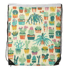 Cactus Flower Pattern Drawstring Backpack