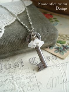 GARDEN GATE - Antique Key Necklace with Bell Flowers. Vintage Skeleton Key Necklace. Upcycled Jewelry. Eco Friendly Jewelry. Sweet & Shabby....