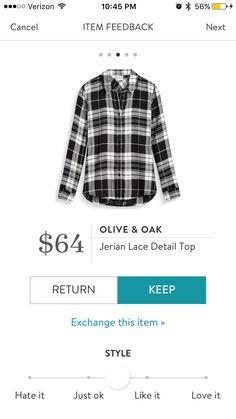 Olive & Oak Jerian Lace Detail top - black white plaid - Stitch a Fix 2016
