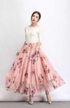 Women maxi skirt flower chiffon skirt by on Etsy Chiffon Dresses, Chiffon Skirt, Dress Skirt, Skater Skirt, Skirt Fashion, Fashion Dresses, Kurti Designs Party Wear, Wedding Skirt, Womens Maxi Skirts
