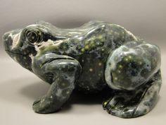 Frog Stone Carving 7 inch Ocean Jasper Carved Animal Gemstone Rock #1