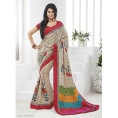 Jennifer Winget Cream Colour Designer Bhagalpuri Salem Silk Saree