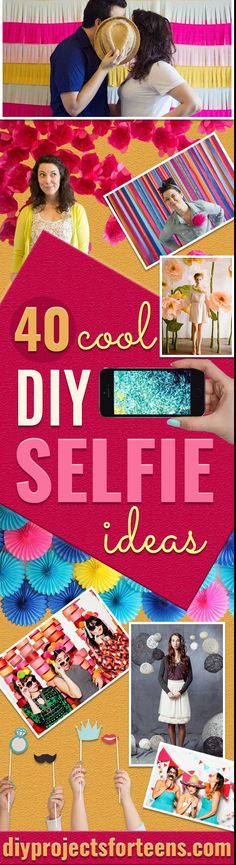 DIY Selfie Ideas - Cool Ideas for Photo Booth and Picture Station - Props, Light, Mirror, Board, Wall, Background and Tips for Shooting Best Selfies - DIY Projects and Crafts for Teens  via @diyprojectteens Diy Craft Projects, Diy Projects For Teens, Diy For Teens, Crafts For Teens, Kids Diy, Decor Crafts, Teen Crafts, Diy Crafts, Diy Foto