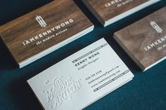Stunning Wood & Cotton Business Cards - featuring white ink on real Dark Walnut Wood and blind debossing on luxurious Cotton paper backing. Design and photo by Kenny Wong. Wood Branding, Self Branding, Branding Ideas, Wood Business Cards, Business Card Design, Business Ideas, Wood Company, Bussiness Card, Name Cards