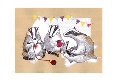 Badger knitting circle  Print of original drawing  by NicolaDraws, £13.00