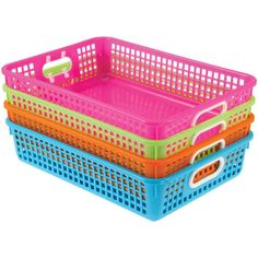 Classroom Baskets With Handle Large Rectangle Neon Colors
