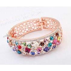 Swarovski Elements Sparkling Multicolor Delicate Design 18K Rose Gold Plated Broad Bracelet