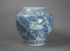 Jar with Winged Animals over Waves  Period:     Ming dynasty (1368–1644) Date:     mid-15th century Culture:     China