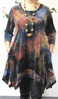 Exklusive Plus Größe Spitze, Lagenlook, Boho, High-End-Velour in exotischen Print mit passenden Schal