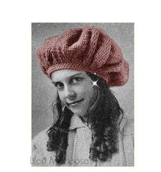4e821490 Vintage Crochet Pattern-40s Tom O'Shanter Hat Bonnet Hair-Hair Accessories-  Boho Bohemian pdf file-D