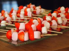 marshmallows and strawberries in sticks