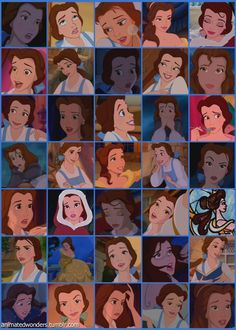 The many faces of Belle My favorite Disney Princess and character.   Is it sad I can tell you the exact point in the movie each face happens and the quote that goes with it?????