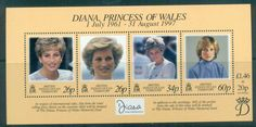 BIOT 1998 Princess Diana in Memoriam MS MUH lot81812