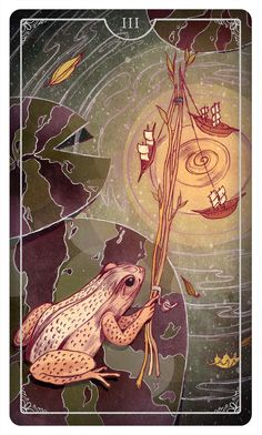 Three of Wands Tarot Card with frog and ships
