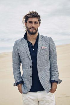 Danthoine navy jacket; Dallas indigo marle polo; Chicago white denim; Red striped pocketchief