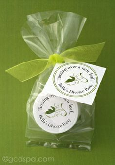 #divorce party, turn over a #new leaf, lip balm favors