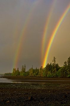 Double Mirrored Rainbow - Naden Harbor, British Columbia, Canada