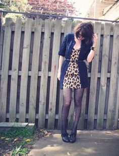 Motel leopard print bustier dress, Motel striped fisherman cardigan, Asos bobbly knit cardigan, eBay spotted tights, Hermes inspired cuff, Chloe silverado booties outfit @ Le Blog de Sushi leblogdesushi.com