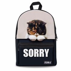 47.99$  Watch here - http://alif9w.shopchina.info/go.php?t=32259805793 - FORUDESIGNS 2017 3D Cat Animal Pattern Backpack For Girls Casual Women Shoulder Backpacks Mochila Infantils Masculina Esolar  47.99$ #buyonlinewebsite