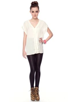 spice up a simple shirt with faux leather leggings!