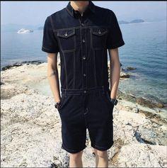 ba78060751ae Men s Denim Romper with Pockets