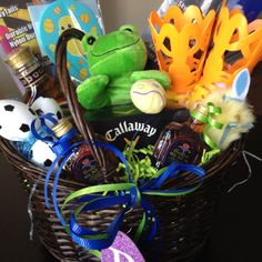 Made this baseball themed easter basket for my boyfriend last year boyfriend easter basket golf balls liquor and fun little things negle Choice Image