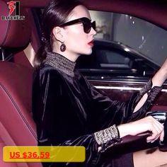 HAGEOFLY Vintage Long Sleeve Dress Women Runway Dress 2017 New Autumn Turtleneck Velvet Batwing Sleeve Beading Vestido Feminina