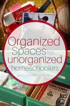 """Organization comes naturally for some people, but not for me. Somehow though, I've managed to have an organized homeschool. It's true -- I might not know where the coffee bean grinder is after 25 minutes of frantic searching, but I can find the math book"