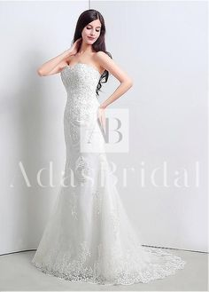 In Stock Charming Tulle Sweetheart Neckline Sheath Wedding Dresses With Beaded Lace Appliques