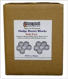 Clear Pond Sludge Buster Blocks - Pack of 180 1-Ounce Blocks by Clear Pond. $207.59. Controls odors by eliminating the build-up of dead and decaying organic wastes. Eliminates bottom sludge such as decaying plants, grass clippings, leaves, fish waste and other organic waste material. Treats 1 acre. Clear Pond Sludge Buster Blocks are a blend of beneficial pond bacteria and enzymes, in a pre-measured 1-ounce dissolvable block. These dissolvable blocks contain no b...