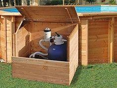 Coffre de filtration bois OSLO 1,2 x 1,14 x 0,80m pour piscine hors-sol