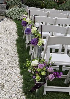 Galvanized pails used at the end of aisles for purple hydrangea wedding Purple Hydrangea Wedding, Wedding Flowers, Wedding Ideas, Floral, Plants, Inspiration, Design, Biblical Inspiration, Florals