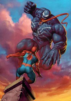 Spiderman vs Venom by Carlos Valenzuela Marvel Comics, Marvel Villains, Marvel Comic Books, Comic Book Characters, Marvel Heroes, Comic Books Art, Comic Character, Comic Art, Venom Spiderman