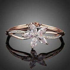 Flower Design Cubic Zirconia Bangle  #fashion #jewelry #earrings #women #necklace #rings #khaista #womensfashion #dresses