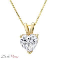 Clara Pucci 0.15 CT Brilliant Round Cut Designer 14K Yellow Gold Pendant Box Necklace 16 Chain