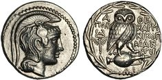 "Athens ""New Style"" silver tetradrachm circa BCE. Helmeted head of Athena on obverse; reverse has owl standing on amphora with winged caduceus at left Anima Mundi, Coin Art, Gold And Silver Coins, Antique Coins, Greek Art, Owl Jewelry, Coin Collecting, Deities, Pet Birds"