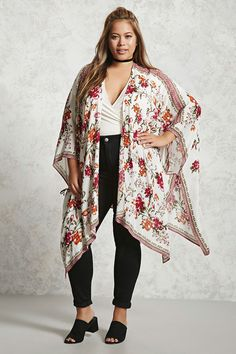 Forever 21+ - A semi-sheer crinkle woven kimono featuring an allover floral print, an open front, self-tie at the sides, and 3/4 sleeves.