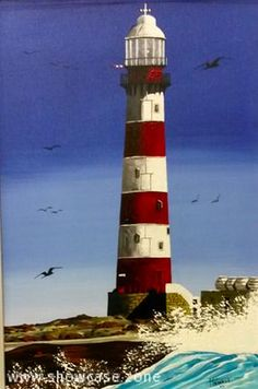 An original oil painting of the lighthouse at Robben Island.  This beautiful Island off the coast of Cape Town is known for the prison where Nelson Mandela spent 27 years incarcerated.  It is currently a beautiful heritage site and popular tourist destination.