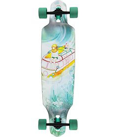 Shred in style on a directional drop-through mounted shape for a stable riding platform and a unique sunken van and man wearing a scuba mask graphic.