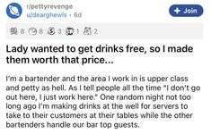 This bartender served up some revenge to a cheapskate who thought she could get away with scamming the place. #work #bartender #lol #scam #revenge #scammer