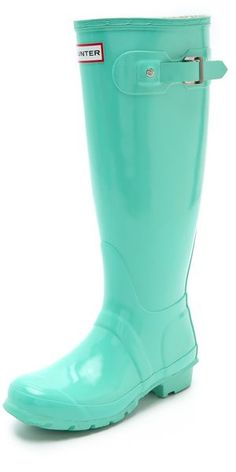 when it's raining and you need something cool and fashionable to wear, mint green hunter boots are the answer!