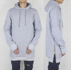 Thumb Hole Extended Hoodie (grey,black) / High State Apparel