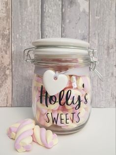Cute personalised sweet jar for Personalised Biscuits, Personalised Frames, Rose Gold Gifts, Sweet Jars, Dog Treat Jar, Jar Gifts, Gifts For New Moms, Candy Jars, Home Gifts