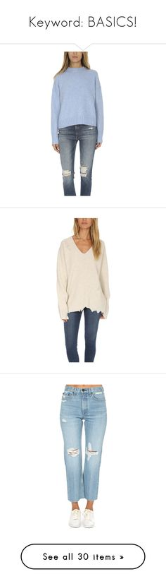 """""""Keyword: BASICS!"""" by blueandcream ❤ liked on Polyvore featuring tops, sweaters, everyday basics, home, women's, crew sweater, boxy tops, blue sweater, helmut lang sweater and boxy sweater"""