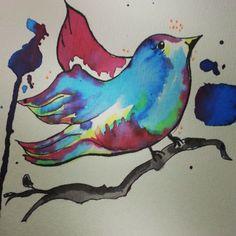 Passarinho #ecoline #watercolor