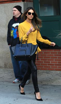 Lily in yellow + leather