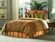 Ambrose Falls Gold Red Green King 14PC Comforter Set Elite Collection