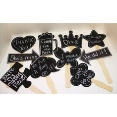 10 Chalkboard Photo booth Props. Great idea for a Pinterest Party #teamphotobooth, #harlemphotobooth